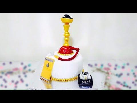 How to cover a round shisha theme cake with homemade fondant  |EPI 2