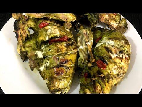 Hariyali Chicken Tikka without oven and grill/delhi style hariyali chicken(english subtitles)