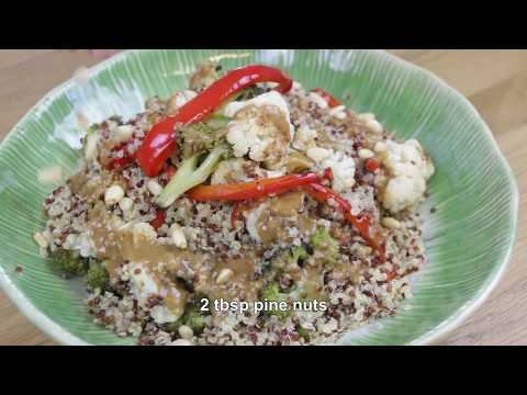 Quinoa with vegetables and tahini sauce