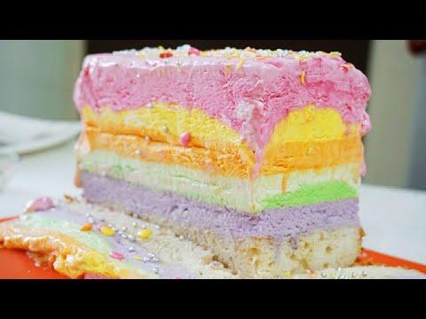 Rainbow Ice - Cream Cake | The Ultimate Recipe | Delicious Rainbow Ice-Cream Cake | Easy Recipe |