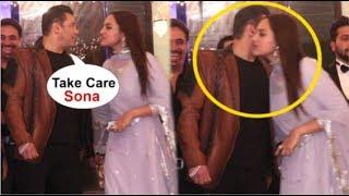 Salman Khan HUGS & KISSES Sonakshi Sinha In Front Of Media At Friends Wedding Reception