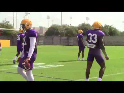 Watch LSU DBs work on breaking down to tackle