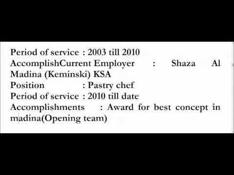 CV: Chef Ahmed Fathy