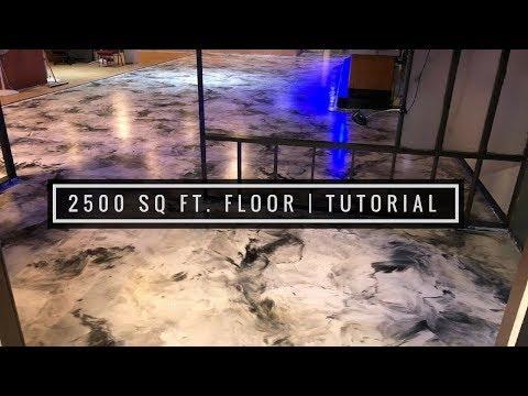 2,500 Sq Ft Metallic Epoxy Coating Over Existing Tile Floor