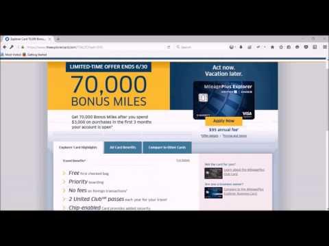 United Mileage Plus 70K Bonus Miles