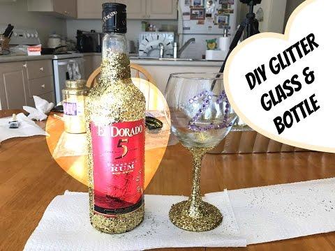 DIY GLITTER WINE GLASSES & ALCOHOL BOTTLES