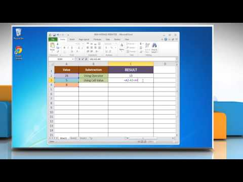 How To Subtract In Excel 2010