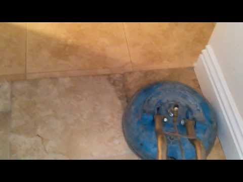 Travertine tile and grout cleaning