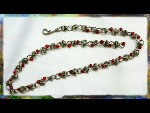 How to Make A Silver Wire Jewelry Necklace, Figure 8 Link Necklace with Red Beads