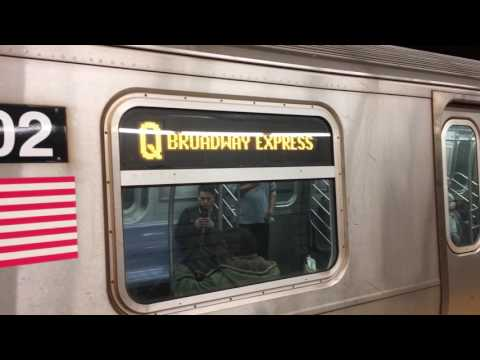 BMT/IND 63rd St Lines: Brooklyn bound R160A (F) and R160B Siemens (Q) Trains Leaving Lex Av-63rd St