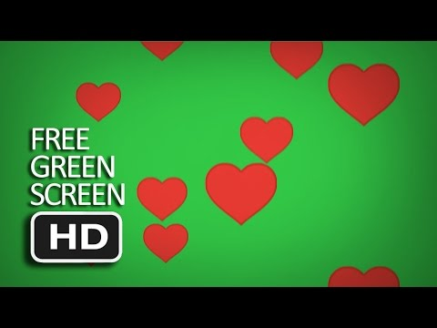 Free Green Screen - Heart Emoji Flying