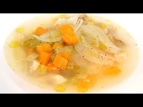 Chicken soup with small noodles and vegetables