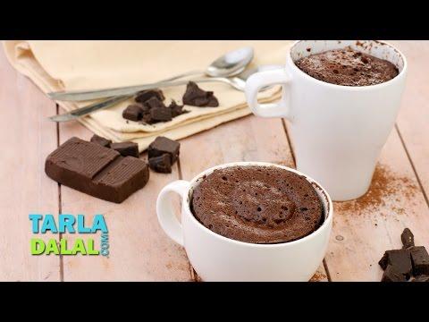 Eggless Chocolate Mug Cake Recipe, 2 Minute Microwave Chocolate Mug Cake by Tarla Dalal