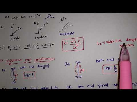 Slenderness ratio ,Rankine load,Euler critical load,effective length of column in hindi