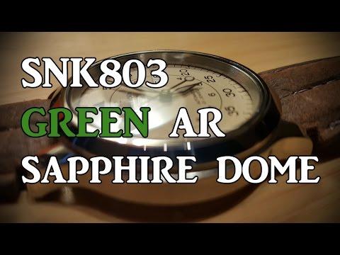 Seiko 5 SNK803 Green AR Coated Sapphire Crystal Swap