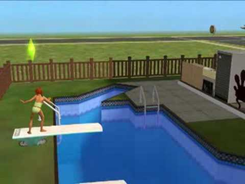 My Sim Chickening out on the Diving Board
