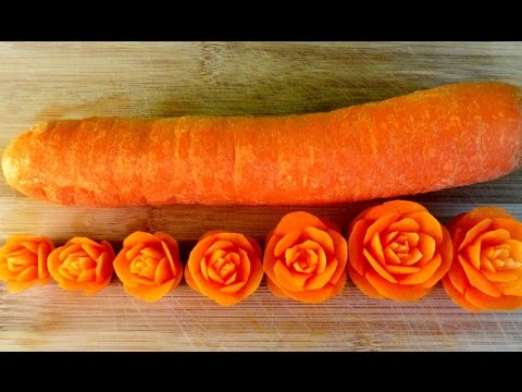 How to Make Carrot Flowers - Vegetable Carving Garnish - Sushi Garnish - Food Decoration