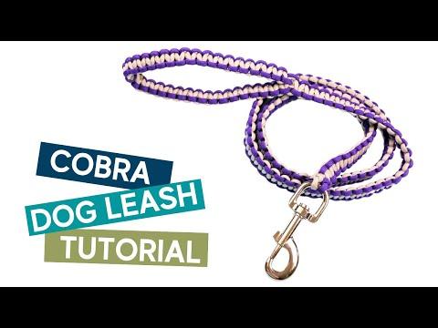 TWO COLOR COBRA (SOLOMON) WEAVE PARACORD DOG LEASH TUTORIAL