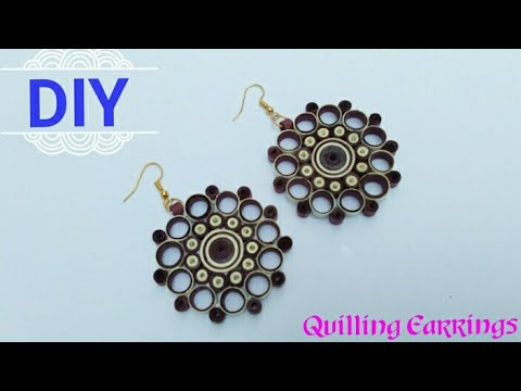 How To Make Paper Quilling Earrings // Paper Earrings // Jewelry Making / Home Made Tutorial // DIY