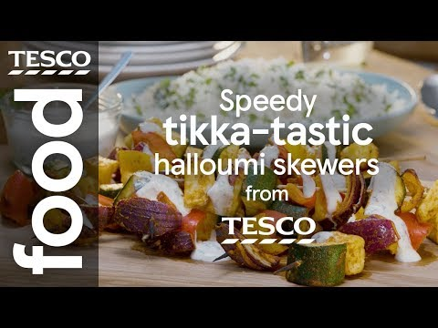 Speedy tikka halloumi skewers | Tesco Food