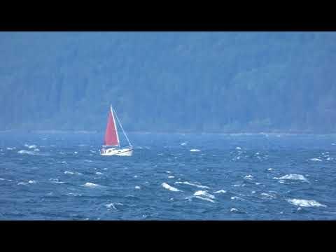 2 Yacht on Kilbrannan Sound on windy day Isle of Arran Ayrshire Scotland UK