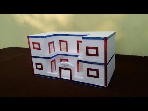 DIY-Thermocol School   How Make Thermocol School Model   Thermocol School Project   Home Decor Ideas