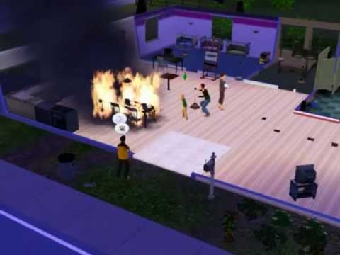 The Sims 3 - Birthday Party + Fire = Firefighter stealing cake! LOL