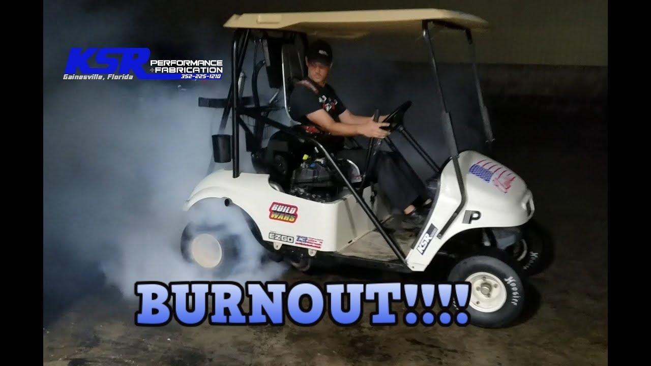 Burnouts with Cleetus McFarland Golf Cart!!! Fixing the cart Episode 2