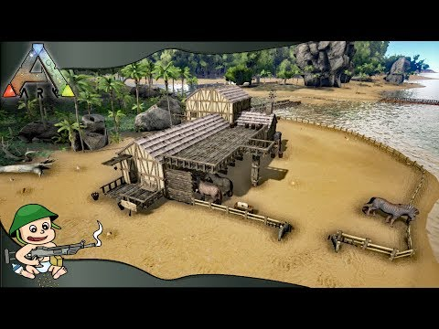 Ark - How to Build Medieval B&B With Horse Stables (Primitive Plus Mod, Building Montage)