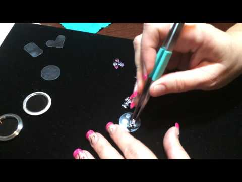 How to secure charms using transparency film and glue dots - Round Locket