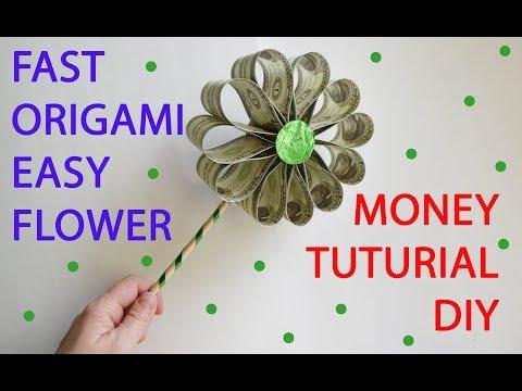 Easy Money Flower Fast Tutorial Origami Dollar DIY