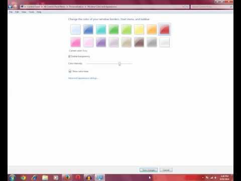 How to change the taskbar color in Windows 7