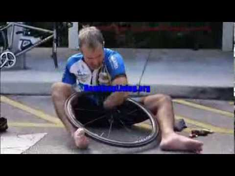 How to Change a Bicycle Flat Tire Without Hands.Inspiring and amazing
