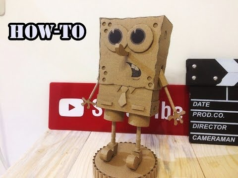 Amazing DIY\How to make a Spongebob Squarepants toy from Cardboard 2017