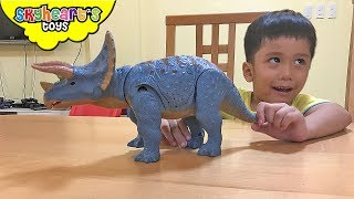 BABY TRICERATOPS lost in our home! - Toddler adopts hungry pet dinosaurs for kids toys
