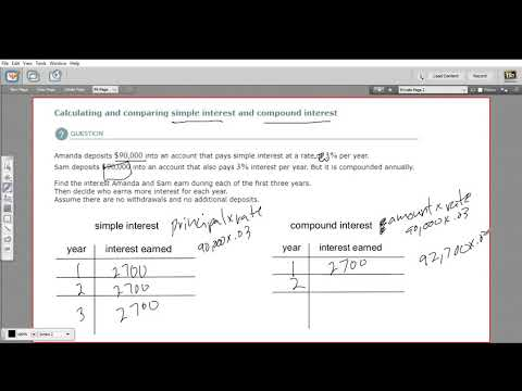 Calculating and comparing simple interest and compound interest