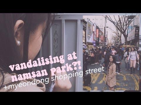 vandalising at namsan park?! + myeongdong shopping street // tammy victoria