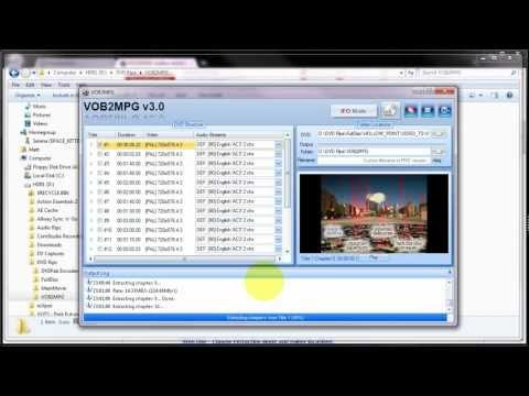 How to extract an MPEG2 file from a DVD using VOB2MPG v3