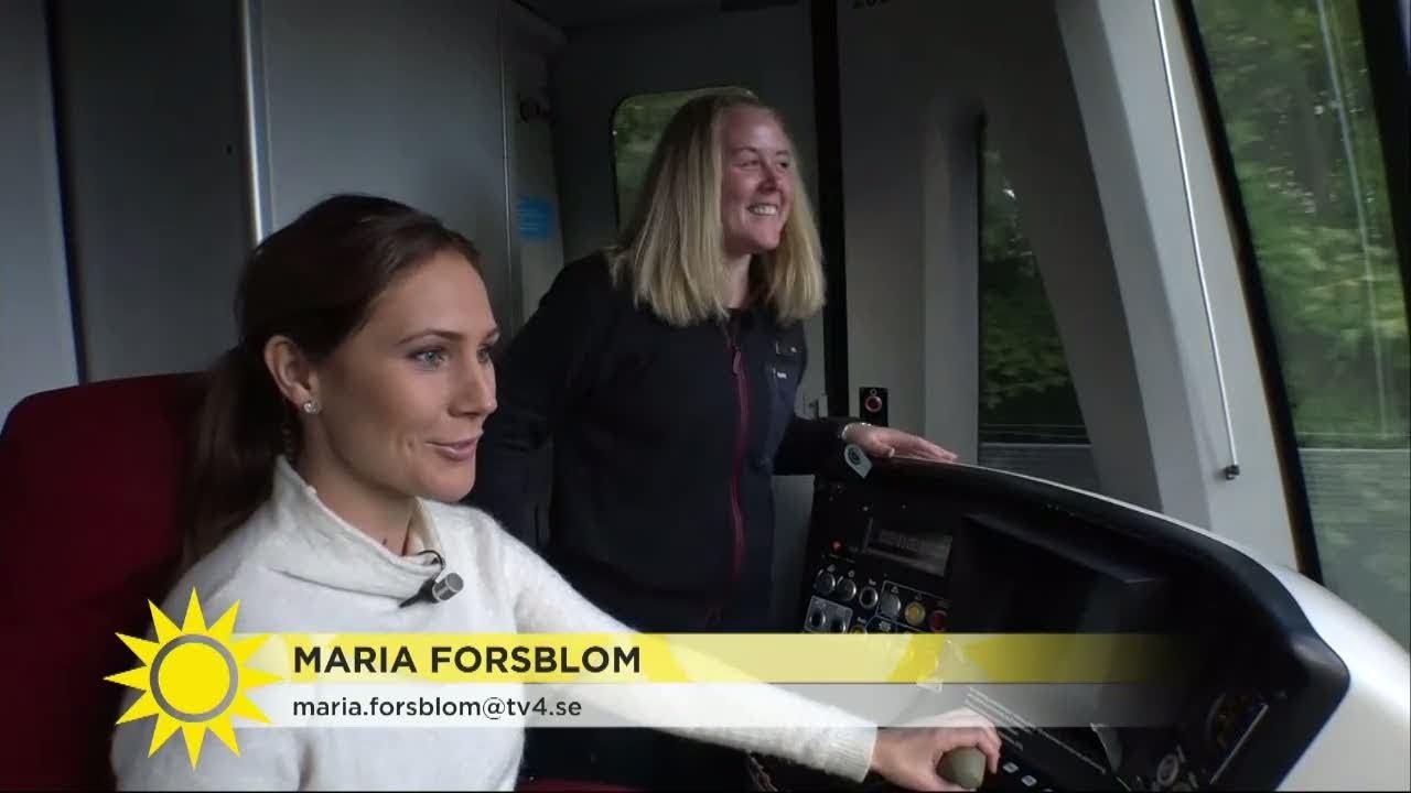 """Maria på prao – här kör hon tunnelbana: """"Oj, jag måste gasa lite också"""" - Nyhetsmorgon (TV"""