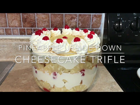 Pineapple Upside Down Cheesecake Trifle Bowl