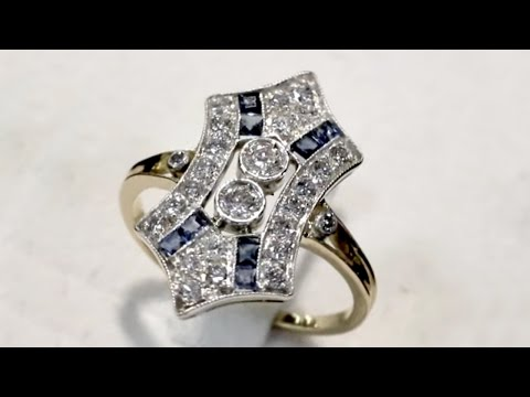 0.72ct Diamond & 0.16ct Sapphire, 18ct Yellow Gold Dress Ring - Art Deco - Antique Circa 1930