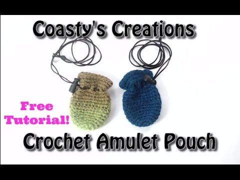 Amulet Pouch/Medicine Bag/Crystal Pouch/Festival Pouch Necklace - Free Crochet Tutorial