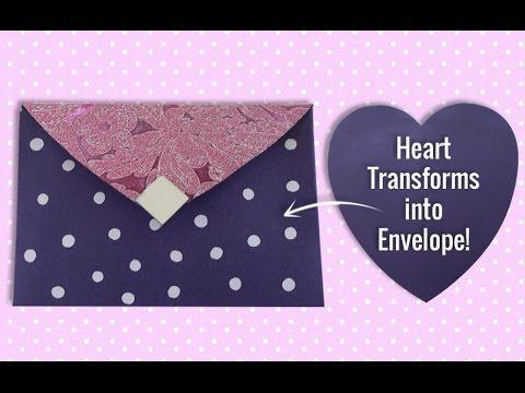 DIY Craft : Heart Shaped Paper Changed into Beautiful Envelope   Valentines Day Card