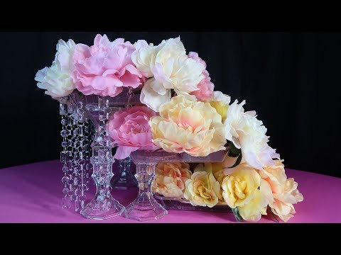 DIY Lighted Cascading Rose Waterfall Centerpiece Tutorial