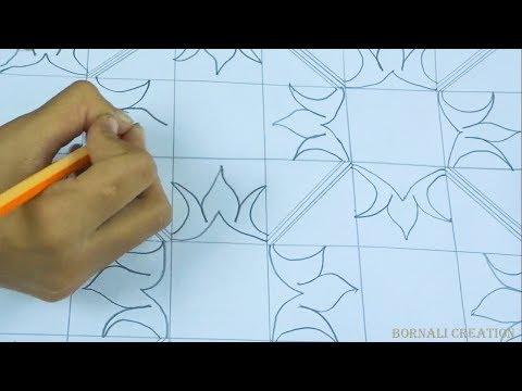 how to draw nakshi kantha art design| nakshi katha drawing