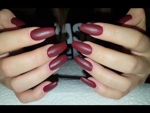 Matte Deep Burgundy Nails + Long Coffin Shaped Acrylic Nails With Madam Glam Gel Polish