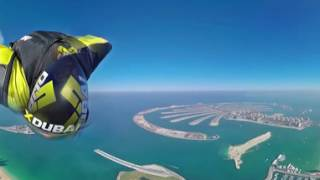 Wingsuit 360 degree video over Dubai
