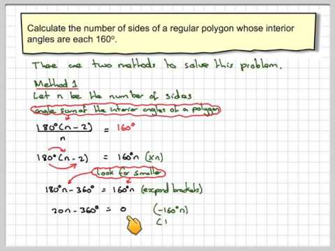 Finding the number of sides of a regular polygon from an interior angle