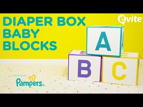 DIY Diaper Box Baby Blocks | Baby Shower Decorations