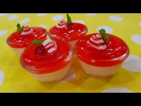 Ramzan Special recipe China grass pudding with strawberry jelly | Nazmin vahid